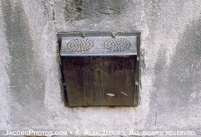 This was the only ventilation for a basement cell in the Auschwitz 1 punishment center, Block 11. As many as twenty prisoners were crammed tighty into a small cell and left to suffocate.