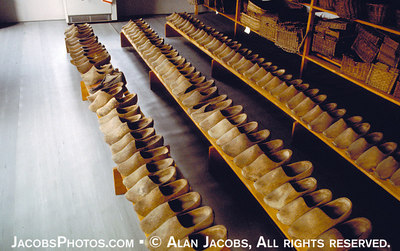Prisoners' wooden shoes at the Auschwitz Museum Archives. They were the source of much pain, suffering and death. Ill fitting and rough, they caused blisters and sores, even fatal infection due to prisoner's weakened immune systems. See http://www.remember.org/jacobs/