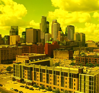 This photo was taken through a yellow glass window at the Guthrie Theater, Minneapolis.
