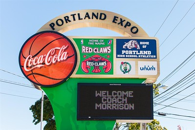 A sign at the Portland Expo welcomes the new Head Coach of the Maine Red Claws on September 19 2014. The Expo is where the Maine Red Claws play all home games. Coach Morrison is the 4th Head Coach in Maine Red Claws history. Portland, Maine. (Photo by Michael McSweeney/Maine Red Claws).