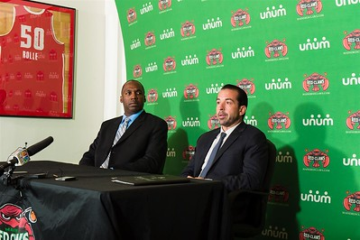 Maine Red Claws head coach Scott Morrison (right) answers questions as Maine Red Claws president Dajuan Eubanks (left) looks on during a Press Conference at the Maine Red Claws Corporate Offices in Portland, Maine on September 19 2014. Coach Morrison is the 4th Head Coach in Maine Red Claws History. (Photo by Michael McSweeney/Maine Red Claws).