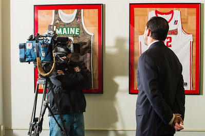 Maine Red Claws head coach Scott Morrison speaks to a member of the media during a Press Conference at the Maine Red Claws Corporate Offices in Portland, Maine on September 19 2014. Coach Morrison is the 4th Head Coach in Maine Red Claws History. (Photo by Michael McSweeney/Maine Red Claws).