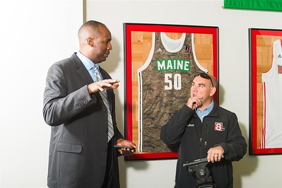 Maine Red Claws president Dajuan Eubanks speaks to a member of the media during a Press Conference at the Maine Red Claws Corporate Offices in Portland, Maine on September 19 2014. The Maine Red Claws recently named Scott Morrison as the new Head Coach. Coach Morrison is the 4th Head Coach in Red Claws History. (Photo by Michael McSweeney/Maine Red Claws).