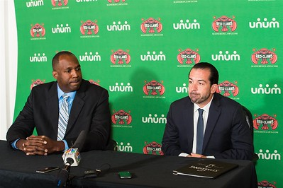 Maine Red Claws president Dajuan Eubanks (left) and Maine Red Claws head coach Scott Morrison (right) listen to a question during a Press Conference at the Maine Red Claws Corporate Offices in Portland, Maine on September 19 2014. Coach Morrison is the 4th Head Coach in Maine Red Claws History. (Photo by Michael McSweeney/Maine Red Claws).