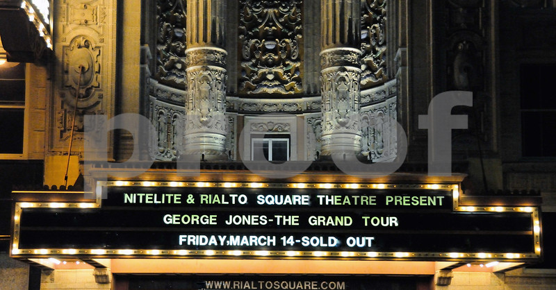 RIALTO SQUARE MARQUEE -  INCORRECT DATE FOR THE CONCERT           WMS PHOTOGRAPHY