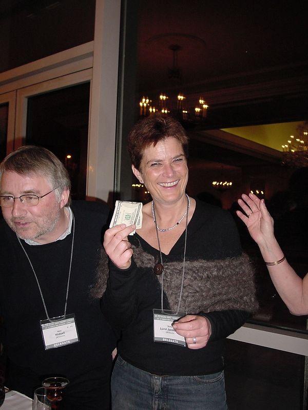 IFTA auction - Dorte taking in the money