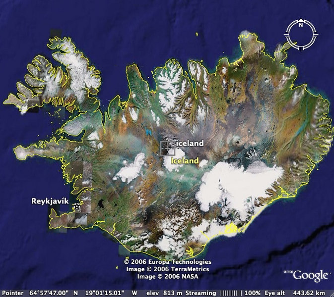 iceland satellite view