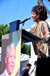 Celebration of the life, legacy and values of Nelson Mandela Leimert Park in Los Angeles California Hosted by the Los Angeles Save Africa Movement Hosted by Congresswoman Maxine Waters. Valerie Goodloe