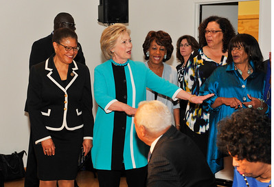 CONGRESSWOMAN MAXINE WATERS & CONGRESSWOMAN KAREN BASS JOIN SECRETARY OF STATE HILLARY CLINTON IN A TOWN HALL MEETING WITH THE AFRICAN AMERICAN COMMUNITY LEADERS AT THE CALIFORNIA AFRICAN AMERICAN MUSEUM IN LOS ANGELES CALIFORNIA ON MAY 5, 2016 PHOTOS BY VALERIE GOODLOE