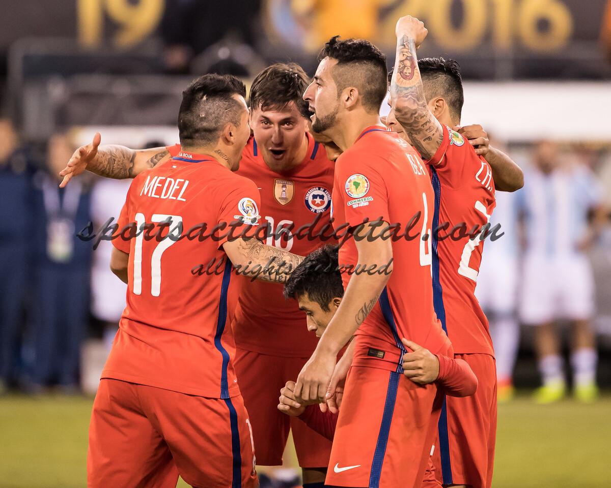 Chile players celebrate