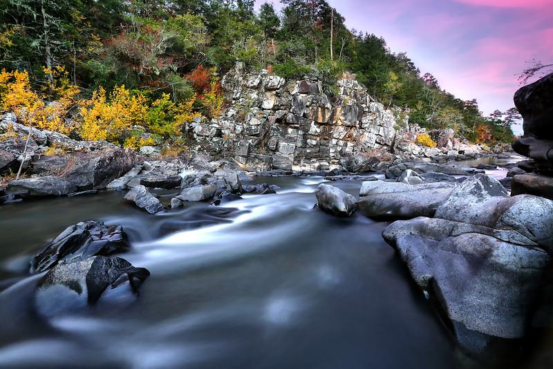 Fall Sunset - Cossatot Falls State Park - Wickes, Arkansas - The State Parks of Arkansas - Fall 2014