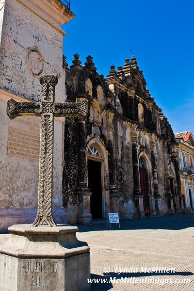 The burned facade of La Merced Church (Lady of Mercy) has never been restored as a reminder of past pillaging.