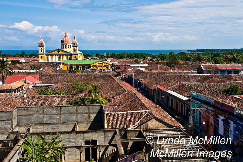 Cathedral of Granada and Lake Nicaragua from bell tower of La Merced Church.