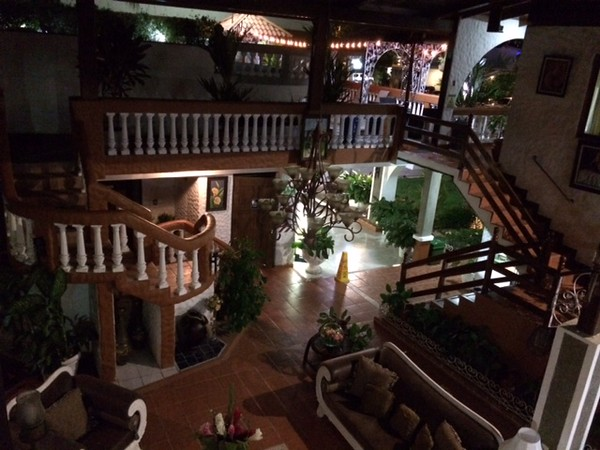 Inside our open air lobby at Villa Bisque Hotel.
