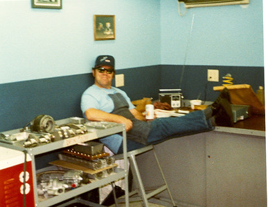 Bob Watkins kicking back after a busy day, must be beer time!