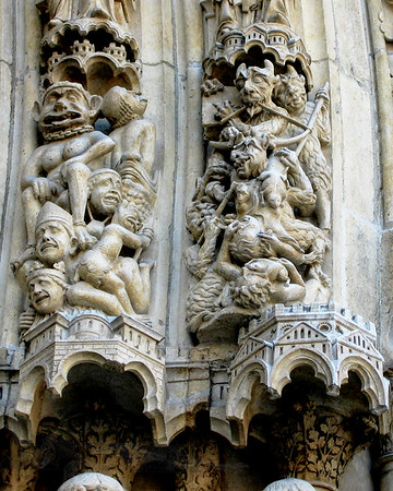 Carvings in Notre Dame Cathedral, Paris