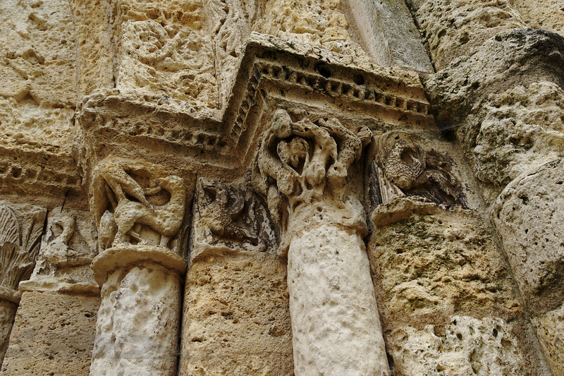 Carvings on the Church of Saint-Jacques, Aubeterre-sur-Dronne, France