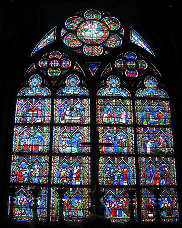 Stained Glass Window in Notre Dame Cathedral, Paris