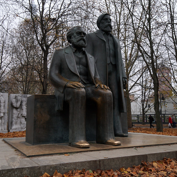 Berlin - Marx and Engels Sculpture - Ludwig Engelhardt -  Marx-Engels-Forum is a park in Berlin. Named after Karl Marx and Friedrich Engels. Statues of Marx and Engels.