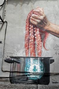 Street Art Restaurant Direction Sign Detail