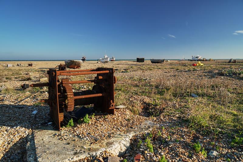 Rusty Winch on Dungeness Beach