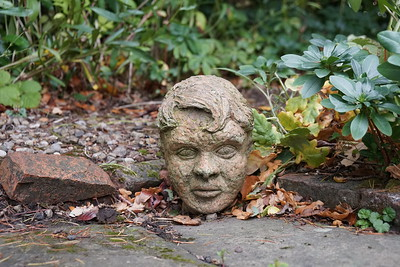 Head Sculpture in a Yorkshire Garden