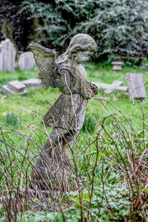 Angel Statue in St Mary's Church Graveyard - Merton Park