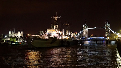 River Thames - HMS Belfast - WW2 Light Cruiser Launched in 1938 - Moored near Tower Bridge - Night - 16x9 - London - 2013