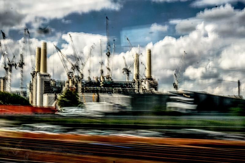 Battersea Power Station from a Train Window
