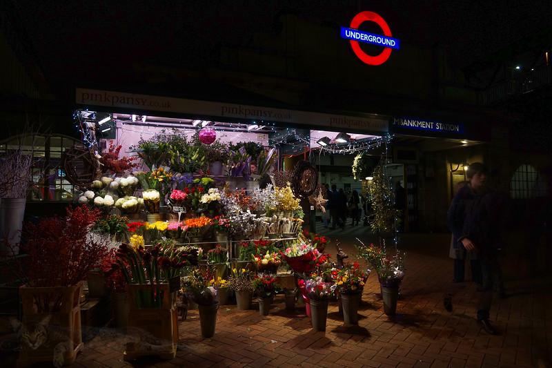 Embankment Tube Station - Florist at Night