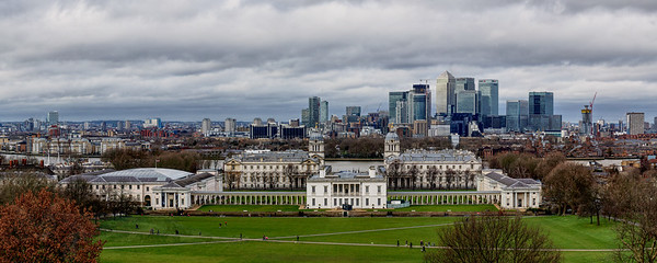 View from Greenwich Hill across the River Thames towards Canary Wharf