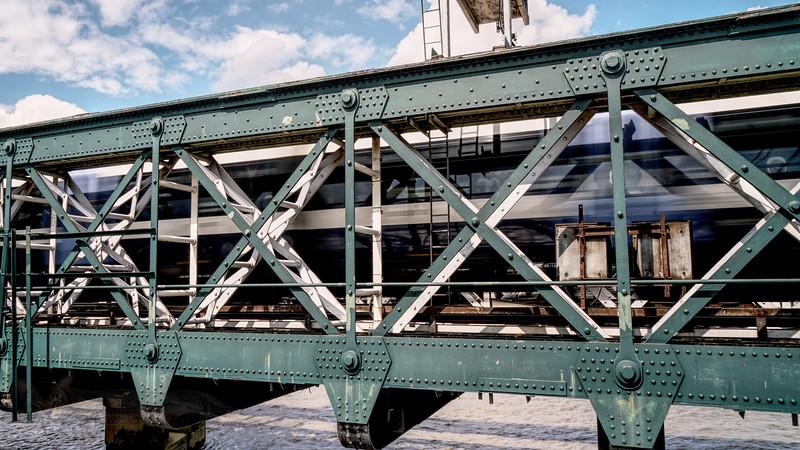 Railway Train Crossing Hungerford Bridge
