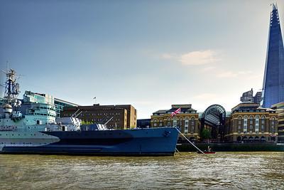 HMS Belfast on the River Thames - London