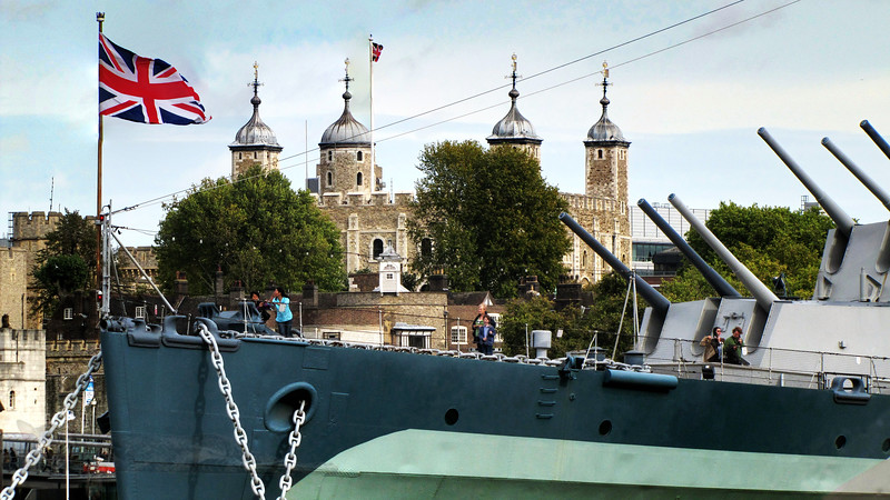 HMS Belfast on the River Thames - London