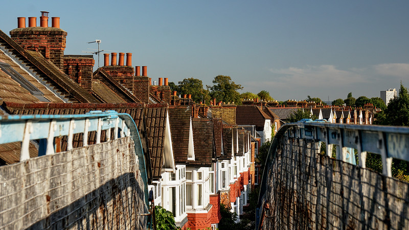 View of Roofs Towards Merton Hall Road from the Footbridge