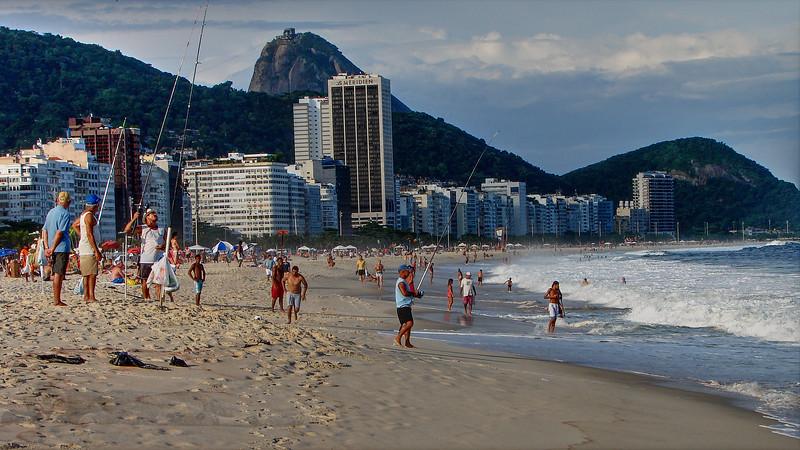 Copacabana Beach - People Fishing