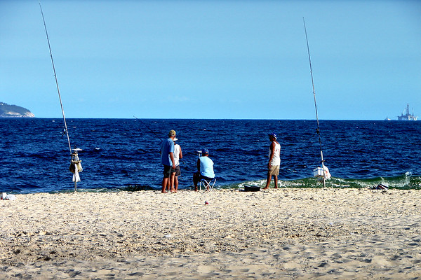 Copacabana Beach - People Fishing