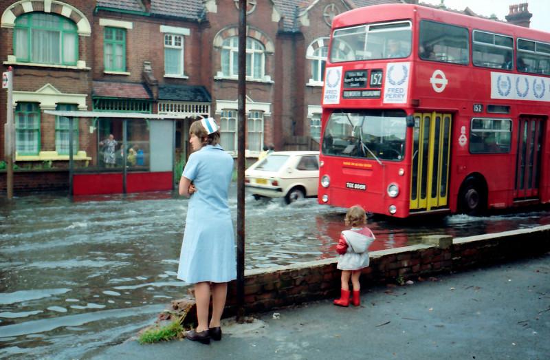 Flood Near Nelson Hospital - Merton Park / Wimbledon Chase - 1982
