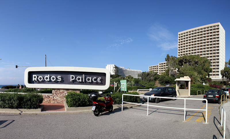 The Rodos Palace Hotel and Convention Center, where the conference was held.  It is in the northeast part of the island, near Rhodes Town, just a few steps from the Aegean Sea.