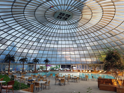 """The dome"" at the Rodos Palace Hotel.  It houses an indoor pool and was the conference banquet venue."