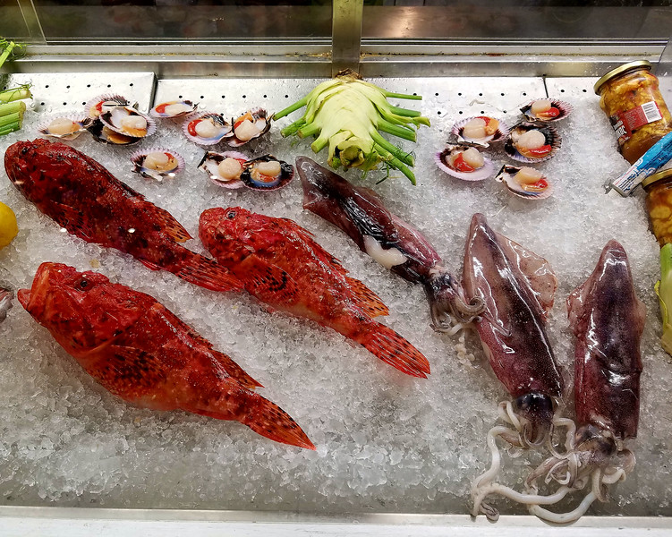 Fresh seafood at dinner.