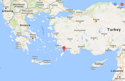 Rhodes is the largest of Greece's Dodecanese islands, very close to Turkey.  Here it is on the map, with the marker marking Rhodes Town, located in the northeast corner of the island.