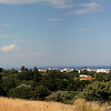 Panoramic view of waterfront/Aegean Sea from the Acropolis of Rhodes.