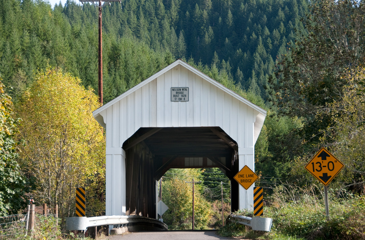 Nelson Mtn Covered Bridge - Take HWY 126 from Florence to Mapleton, continue on HWY 36 towards Swisshome. Close to Milepost 17, turn right on Nelson Mtn Road  for a short distance to the bridge.