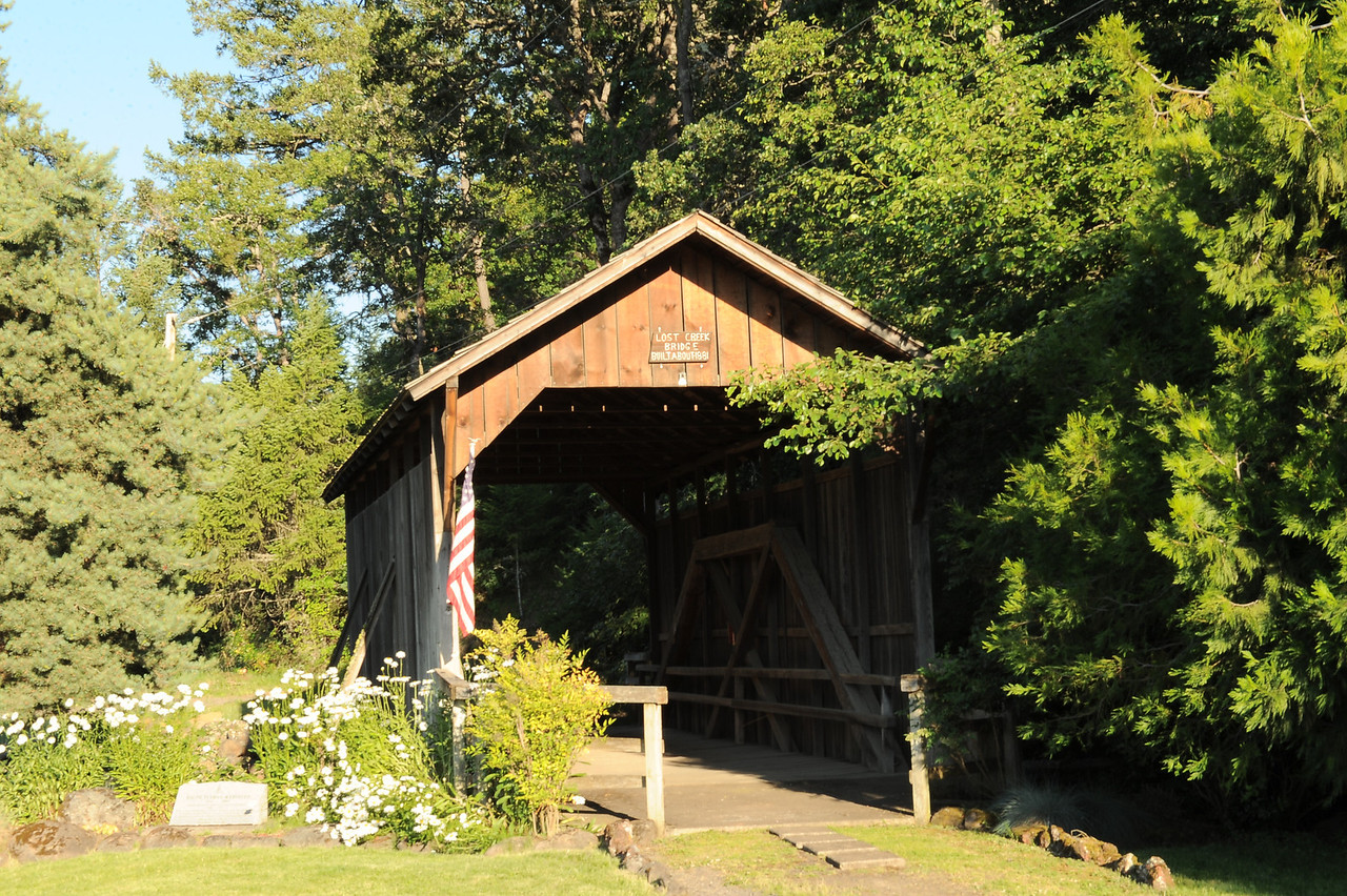 Lost Creek Covered Bridge - 1. This bridge is east of Medford, OR heading towards Klamath Falls on Hwy 140. Turn South on Lake Creek Loop Road. Turn south on South Fork Little Butte Creek Road for about 5 miles. Turn right on Lost Creek Road (Gravel) for about a half mile to the Bridge.