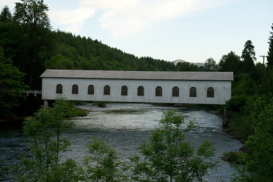 Goodpasture Covered Bridge 1. This bridge is on Hwy 126 about 25 miles east of Eugene. The bridge is is one the right side and crosses the McKenzie River