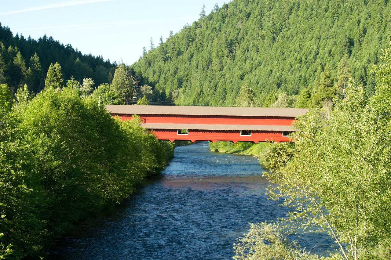 "Office Covered Bridge 1.To get to this bridge, drive up Hwy 58 from Eugene towards Oakridge. When you get to Westfir, milepost 31, turn west onto Westridge Ave. Travel about 2.5 miles following the sign to ""Office Covered Bridge""."