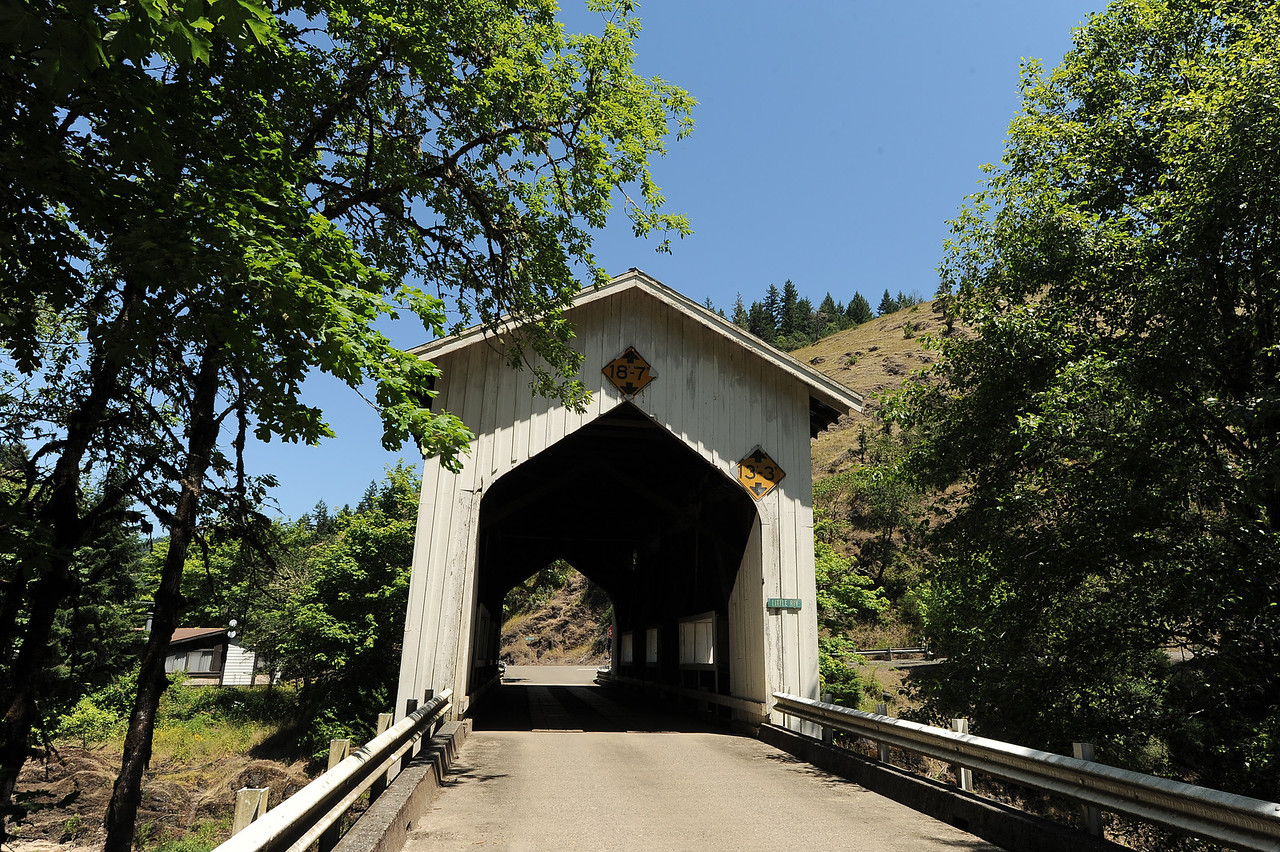 Cavitt Creek Covered Bridge - 1. The Cavitt Creek Covered Bridge is near Glide, OR.  Drive east from Roseburg on Hwy 138 towards Diamond Lake. When you get to Glide, turn south on Little River Road for about 5 or 6 miles to the bridge.