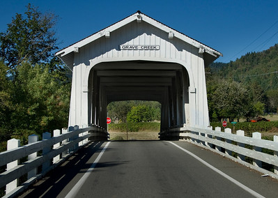 Grave Creek Covered Bridge - Take exit 71 on I-5. Drive east approximately 1/4 mile to the bridge.
