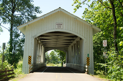 Larwood Covered Bridge 1. Take exit 233 east from I-5 on Hwy 20. Take the Hwy 226 exit (left). Turn right on Fish Hatchery Road and drive several miles to the bridge.
